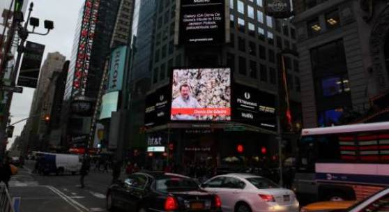 Painter Denis De Gloire, billboard of Times Square