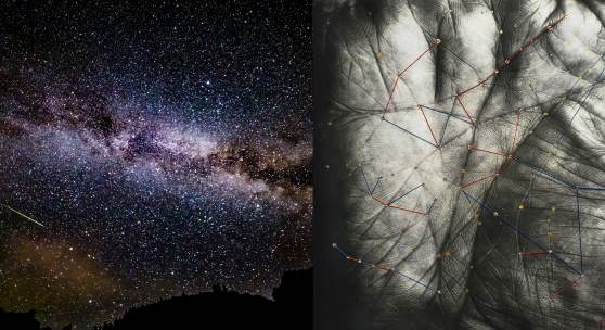 Bildtext / Fotocredit: Fotomontage Sternenhimmel und HANDS OF HEAVEN © Neufeld / Andorrer 2020