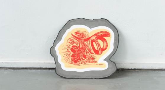 Natalia Gurova, One of 5, 2019, Skulptur (Siebdruck und Metall), 38 x 30 cm