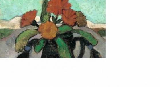 PMB Stillleben mit Ringelrosen vor Landschaft 1907 Privatbesitz web Paula Modersohn-Becker: Stillleben mit Ringelrosen vor Landschaft, 1907, Privatbesitz