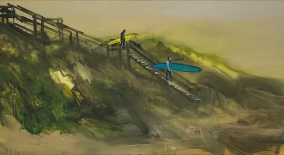 Rainer Fetting, 2 Surfer ( Gang zum Meer ) 2018, Acryl auf Leinwand, 60 x 120 cm