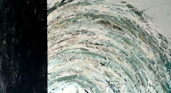 Bild 23: Ralf Bittner, Grüner Bogen, Mischtechnik auf Holz, 2010, 110&80 cm. 1.650 € Möbel ebenso von Ralf Bittner.