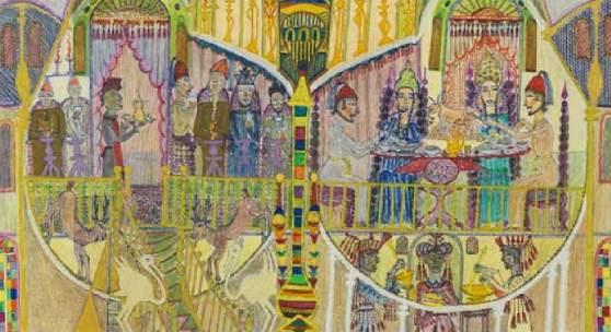 Ramadan Abu Suelem König, Königin und Wesir 1984, 35 x 50 cm © Sammlung Schernig, www.hud-hud.de