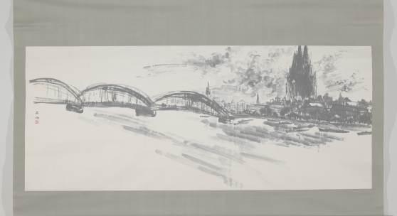 Uchiyama Ukai (1907–1983), Köln am Rhein, Tusche auf Papier, Japan, Rheinisches Bildarchiv Köln: Marion Mennicken