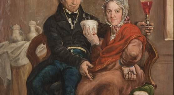 Trinkendes Paar mit Hund, 1819 Öl auf Leinwand, 64 x 49 cm, Kunstmuseum Luzern, Depositum der Gemeinde Horw