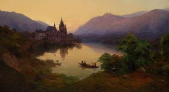 Heinrich Funk »Landschaft mit Kirche am See« (1838)