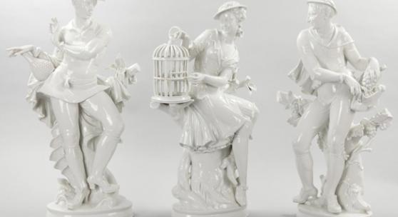 3 Große Figuren nach Entwürfen v. Hugo Meisel Weißporzellan, Rosenthal, 1953/54 (Kat.-Nr. 123-125) Schätzpreis jeweils 1.400,- EUR