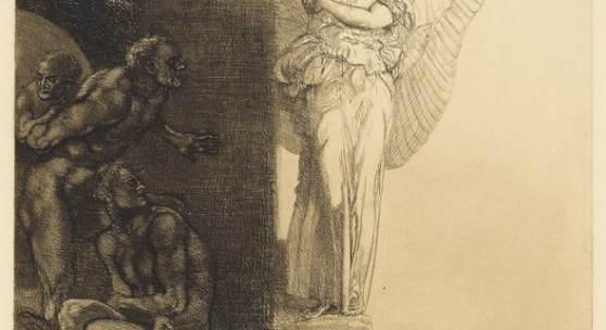 Rudolf Jettmar: Abendläuten aus dem Zyklus Stunden der Nacht, 1901, Radierung, Kaltnadel   © Kupferstichkabinett der Akademie der bildenden Künste Wien