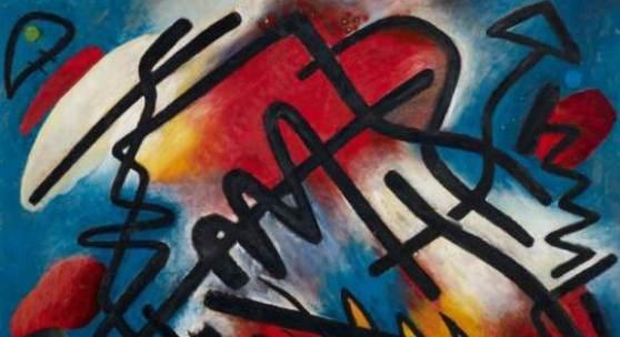 """Bauer, Rudolf 1889 Lindenwald - 1953 Deal/New Jersey  """"Tempo"""". 1918. Öl auf sehr starkem Karton. 73 x 104cm. Signiert unten links: Rudolf Bauer. Rückseitig nochmals signiert und betitelt: Rudolf Bauer. Titel Tempo. Rahmen. Stempel des Künstlers verso: Das Geistreich/ An der Heerstrasse 78/Charlottenburg-Westend"""