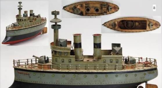 MÄRKLIN Herta, Schlachtschiff, Blech handlackiert, ca. 1910