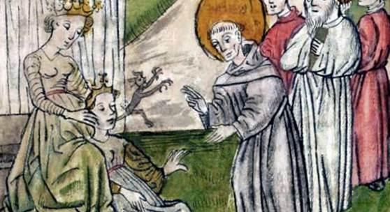 Conrad Sailer: Gallus befreit Fridiburg vom Teufel (um 1455. St. Gallen, Stiftsbibliothek)