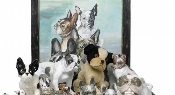 Kollektion von rund 350 Bulldoggen und Möpsen, Ritter im Feld, Schweiz