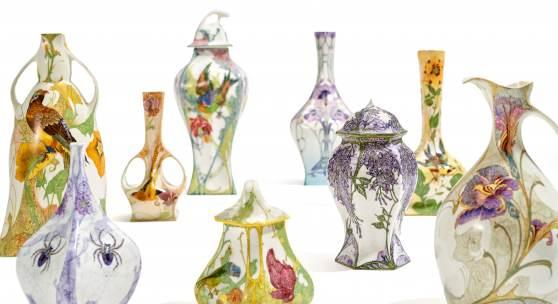 Rozenburger Eierschalenporzellan (Auswahl) 80 Vasen und Gefäße aus einer  Süddeutschen Privatsammlung