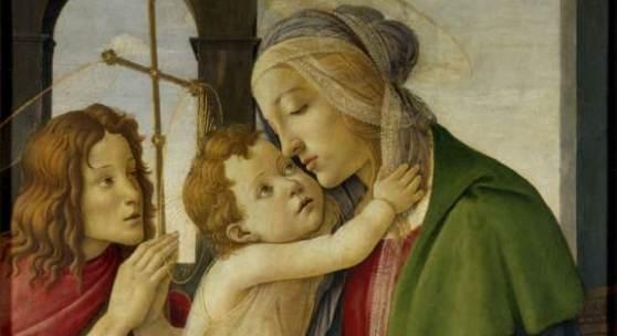 Sandro Botticelli Maria mit dem Kind und dem Johannesknaben beschriftet