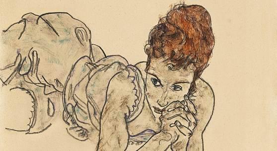Egon Schiele (1890 - 1918) Liegende Frau, 1917, Gouache, schwarze Kreide auf Papier, Blattgröße 45 x 29,7 cm, erzielter Preis € 2.345.000