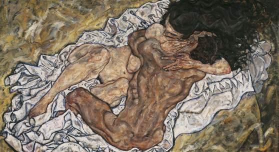 Egon Schiele, Die Umarmung (Liebespaar II), 1917 Öl auf Leinwand 100 x 170 cm