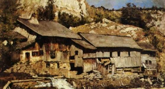 Carl Schuch  Sägewerk am Saut du Doubs II, um 1888  Öl auf Leinwand, 57,5 x 81 cm  © Pommersches Landesmuseum, Greifswald