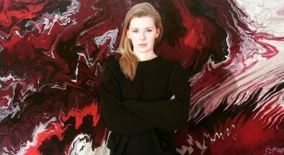 Janine Mackenroth, SCHWARZ ROT GOLD, Nagellack auf Leinwand, 2018, Detail