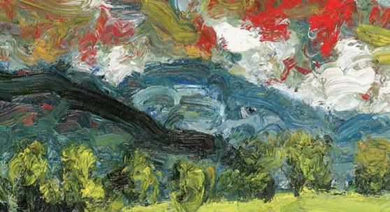 Karl STARK, Abendwolken im Drautal, 1987, Öl/Leinwand, Sammlung Hainz, Wien