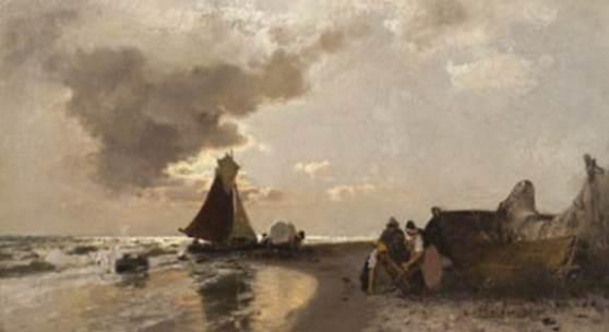 Konrad Alexander Müller-Kurzwelly:  Am Strande, um 1895, Öl auf Leinwand, 280 x 460 mm