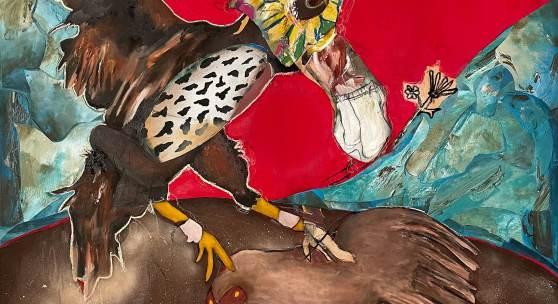 Serge Serum - Hen Fight - Bloody Skies, 2021, Öl, Sprühfarbe, Pastellkreide, Kohle auf Leinwand, 125x125cm