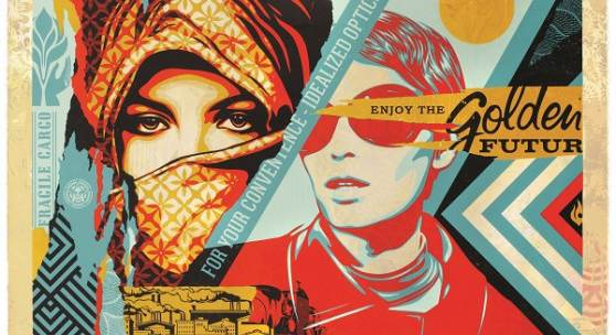 Shepard Fairey, Golden Future, 2017, silk screen and mixed media collage on paper, hand painted multiple, 85x121 cm, 33,5 in x 47,5 in