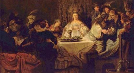 Rembrandt Werke, Simson gibt den Hochzeitsgästen das Rätsel auf 1638. Quelle: www.oel-bild.de