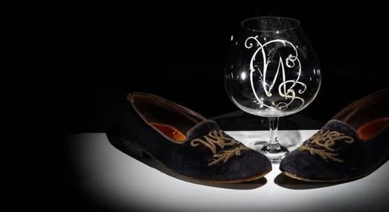 Sir Winston Churchill - his monogrammed midnight blue velvet evening slippers