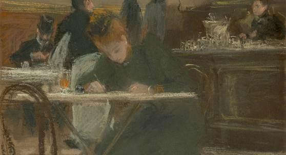 """Franz Skarbinas Pastell """"De quoi ércrire"""" (1892)"""
