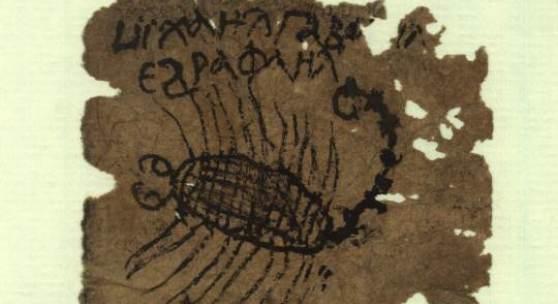 Amulett gegen Skorpionstich Über der Zeichnung sind in  Koptisch die Namen der  Erzengel Michael, Gabriel und  Raphael notiert Ägypten, 10.–11. Jh. Papier