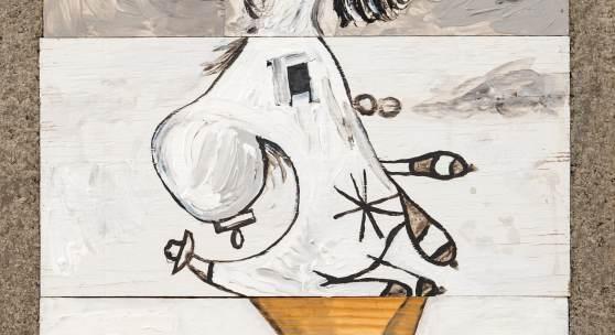 Ray Smith, Unguernica X-1, 2015, Acryl&Graphite/Holz, Beton-Rahmen