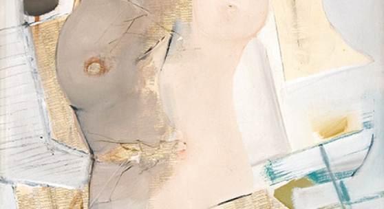 Peter Kodera, 1937 - 2014 Callgirl Collage und Acryl auf Platte 1981 130 x 84 cm