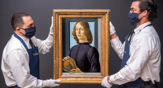Sandro Botticelli's Young Man Holding a Roundel, sold for $92.2 million during Sotheby's Master Paintings & Sculpture Part I Auction in New York, 28 January 2021