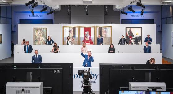 Specialists bidding in New York during Sotheby's Contemporary Art Evening Auction, 28 June