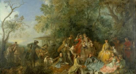 Nicolas Lancret: Déjeuner et repos de chasse, Mahlzeit und Pause während der Jagd, 1738 © SPSG / Foto: Wolfgang Pfauder