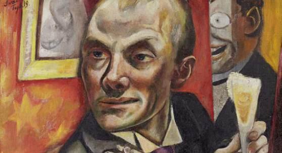 Max Beckmann (1884–1950), Selbstbildnis mit Sektglas, 1919, Öl auf Leinwand, 65,2 x 55,2 x 2,3 cm (ohne Rahmen) Städelscher Museums-Verein e.V. © VG Bild-Kunst, Bonn 2020, Foto: Städel Museum