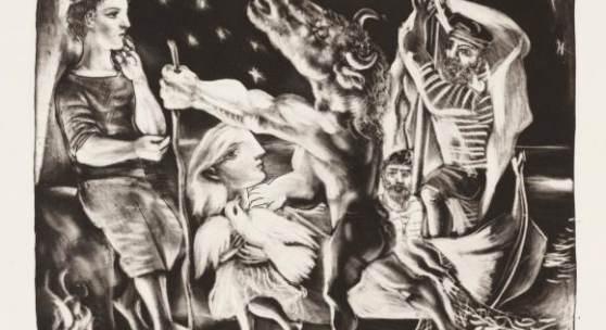 Abbildung: Pablo Picasso, Minotaure aveugle guidé par une Filette dans la Nuit / Der blinde Minotaurus von einem Mädchen durch die Nacht geführt, 1934, © VG Bild-Kunst, Bonn 2018