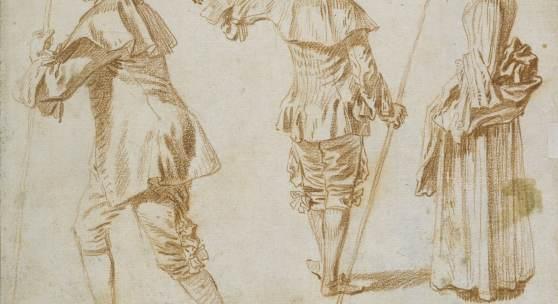 Antoine Watteau, (1684-1721), Zwei Pilger und eine stehende Frau, um 1709–1712