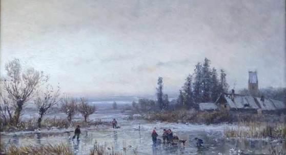 Stademann, Adolf 1824-1895 München, Öl auf Karton, winterliches Eisvergnügen mit Schlittschuhläufern Mindestpreis:1.500 EUR