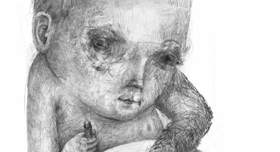 Stefan Zsaitsits, Wilder Arm, Bleistift auf Papier, 70 x 50 cm, 2016