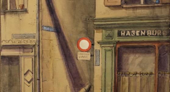 Niklaus Stoecklin, Restaurant Hasenburg, 1971, 32,5 x 23,5 cm, Aquarell auf Papier