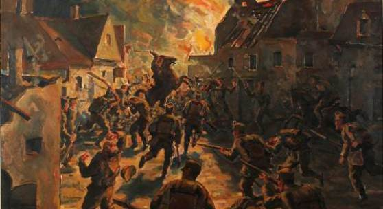 Wilhelm Thöny, Straßenkampf von Przemyslany, 1917,  Öl auf Leinwand, GrazMuseum
