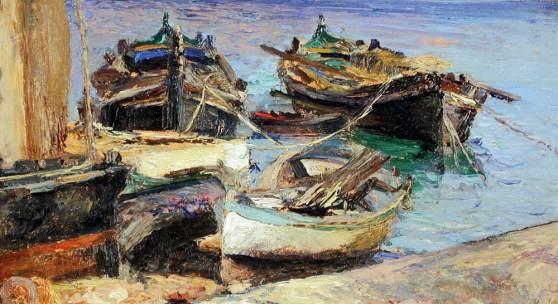 Lea von Littrow (Triest 1860 – 1914 Abbazia) Insel Rab – Bootshafen  Öl auf Karton monogrammiert 31,5 x 46,5 cm   Zur Verfügung gestellt von: Galerie Szaal