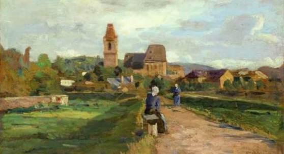 """Tina Blau (1845 - 1916) """"Blick auf Perchtoldsdorf"""" Öl auf Holz, signiert, bezeichnet und datiert 1895 (Galerie Szaal)"""