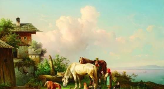 Edmund Mahlknecht (Wien 1820 – 1903 Wien) An der Tränke Öl auf Leinwand signiert und datiert 1878 65,7 x 94,7 cm  Zur Verfügung gestellt von: Galerie Szaal