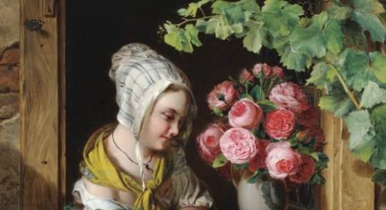 """Ferdinand Küss (Wien 1800 – 1886 Pörtschach) """"Mädchen am Fenster"""" Öl auf Leinwand signiert und datiert 1839 111 x 92 cm Zur Verfügung gestellt von: Galerie Szaal"""
