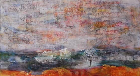Miki Terao   Eine Landschaft   100 x 100 cm   Mischtechnik   2008