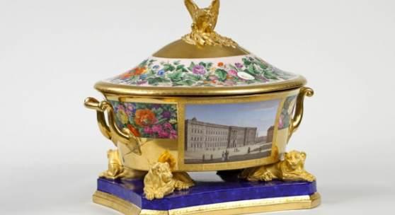 Terrine aus dem Hochzeitsservice für Prinzessin Alexandrine von Preußen, Königliche Porzellanmanufaktur Berlin, 1822 © Staatliche Schlösser, Gärten und Kunstsammlungen M-V, Foto G. Bröcker