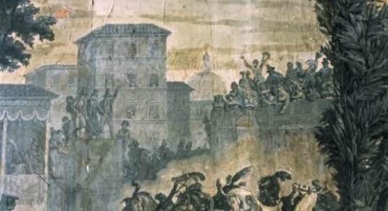 © ML Preiss Bildtapete 1835 von Jean Julien Deltil entworfen; Corso während des Karnevals in Rom  www.monumente-online.de
