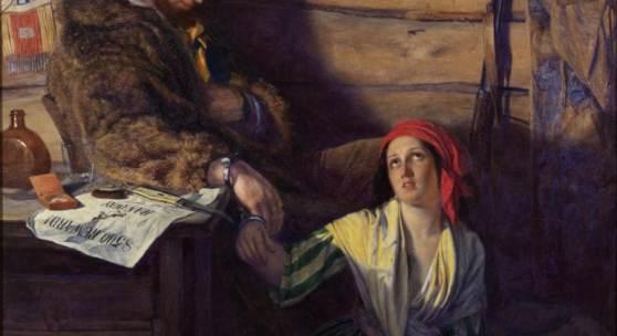 BEN ELWES FINE ART, William Gale (Britain 1823 - 1909) The Captured Runaway, 1856 Oil on canvas 125 × 96 cm. (49 ¼ × 37 ¾ in.)
